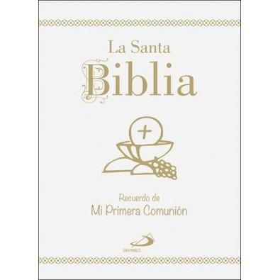 Santa Biblia - Edición Cartoné, oro y uñeros - Recuerdo de mi Primera Comunión