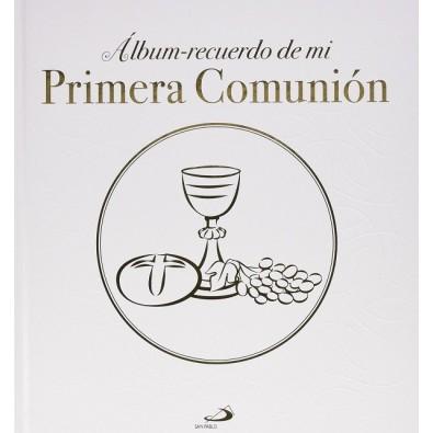 """Album-Recuerdo de mi Primera Comunión """"Modelo D"""" Con cáliz y repujado"""