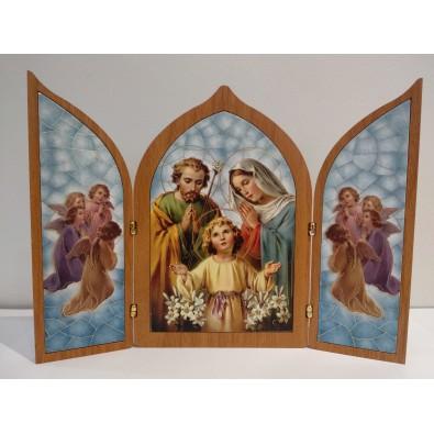 Tríptico Sagrada Familia (efecto madera)