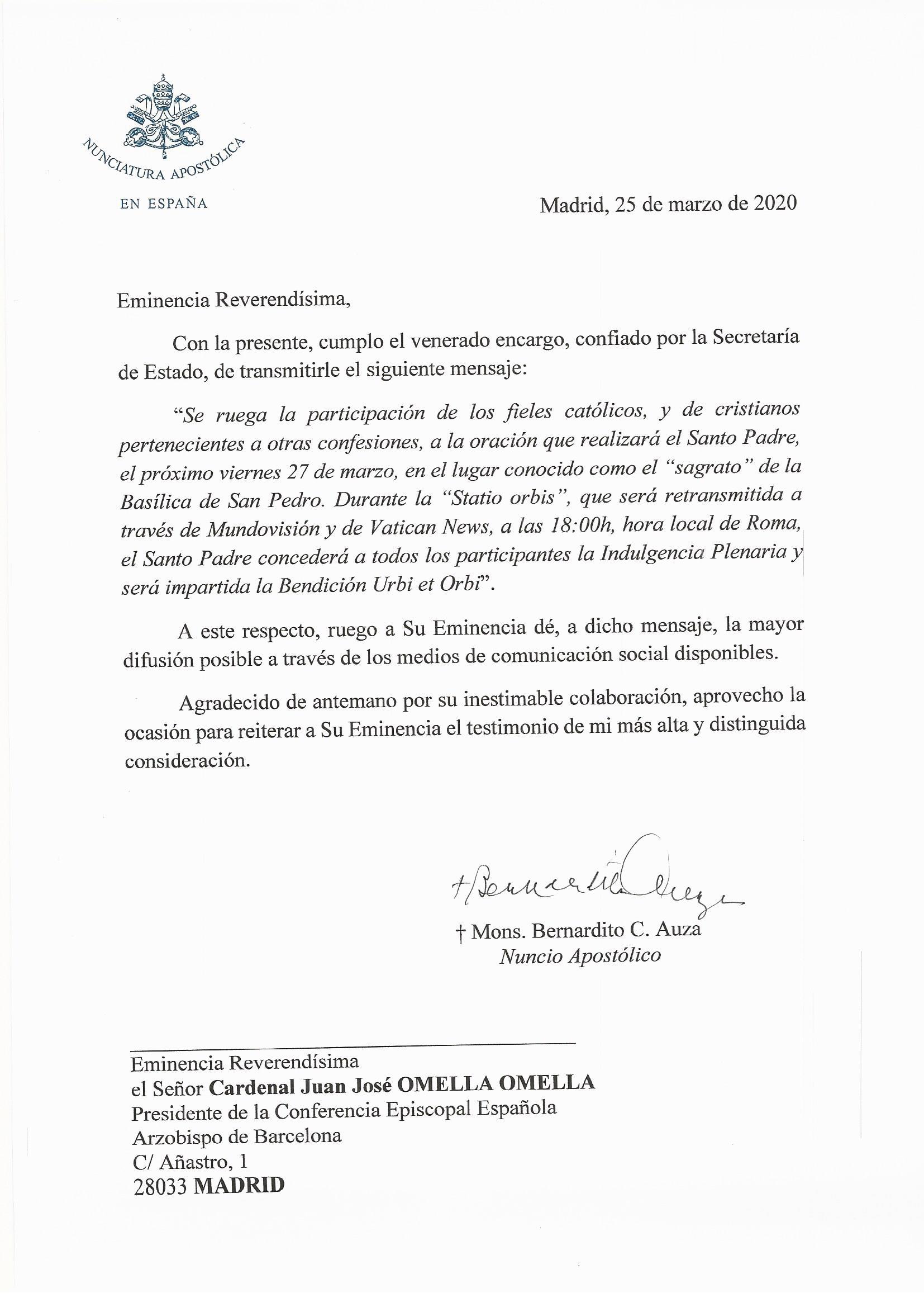 Mensaje Secretaría de Estado